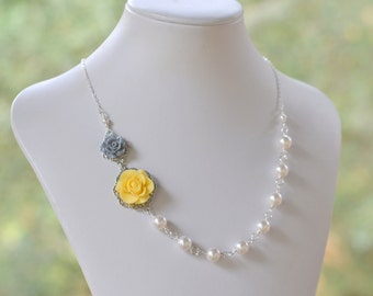 Yellow and Grey Rose Bridesmaid Necklace in White Swarovski Pearl Asymmetrical Floral Necklace.  Yellow and Grey Wedding Jewelry.