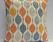"""18"""" x 18"""" Light Orange, Grey / Gray and Putty pillow cushion Cover, contemporary fabric slip cover, throw pillow"""