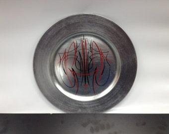 Red and Black Silver Leaf Hand Pinstriped Plastic Plate
