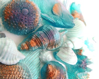 SHELL SOAP, BEACH Soap, Down by the Sea, Aqua, Deep Blue, Purple Orange, Pale Blue, or Pick Your Own Color~Custom Scented, Vegetable Based