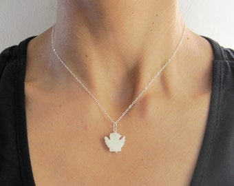 White BIRD DOVE Shell MOP Mother of pearl pendant and 925 Sterling silver chain necklace