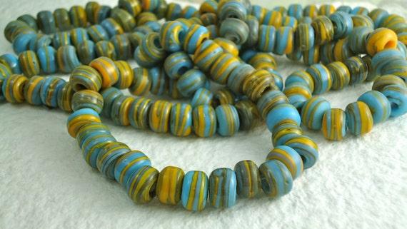 20 Glass Beads  9mm Vintage Czech Pony Trade Blue Yellow-Orange  Tribal BOHO