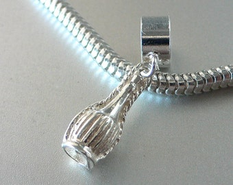 Italian CHIANTI WINE BOTTLE Sterling Silver Italy Charm Fits All Slide On Bracelets