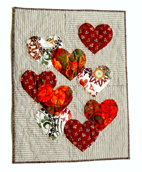 Wall Art Love Heart : Red heart artwork wall art textile to