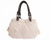 SALE %20 / Ivory Shoulder Bag Celebrity Style With Genuine Leather Dark Brown Handles