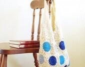 Vintage inspiration design lace crochet hobo bag summer, beach, boho, tribal