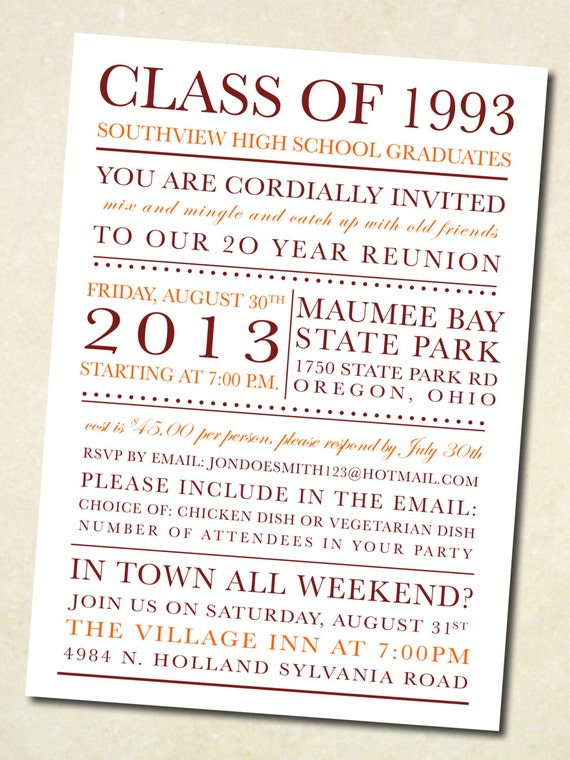 Items Similar To School Colors Class Reunion Invitation