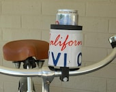 "Bicycle handlebar Drink Holder, ""Kroozie"" made from expired license plates"