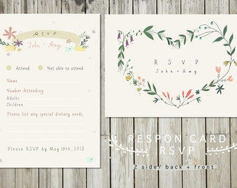 Printable RSVP Card- Choice of Postcard or Flat card