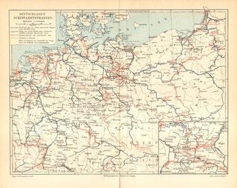 1903 Original Antique Map of Inland Navigation, Inland Waterways in the German Empire