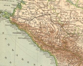 1896 Original Antique Map of the Caucasus or Caucas