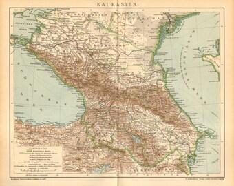 1895 Original Antique Map of the Caucasus or Caucas