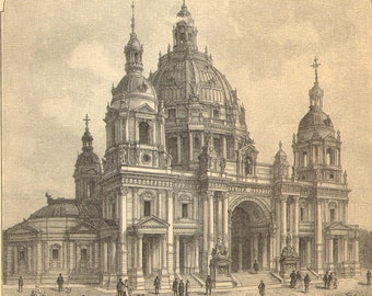 1904 The Most Impressive Buildings in Berlin Antique Engraving to Frame