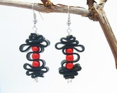 Upcycled Inner Tube Earrings with Red Glass Beads / Upcycle Jewellery / Recycled Jewelry / Eco Freindly Jewelry