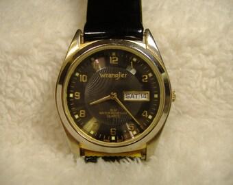 Vintage 1980s Wrangler Day/Date Quartz Watch.