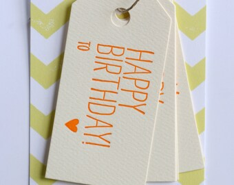 Happy Birthday Gift Tags / Letterpress Printed Gift Tags / Set of 6