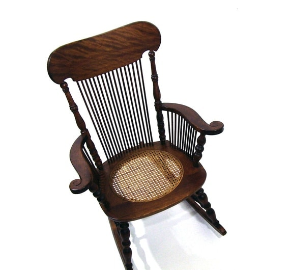 Antique Rocking Chair Tiger Oak Wooden Rocker By