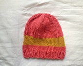 PInk Cotton Slightly Slouchy Beanie Hat with Yellow Stripe