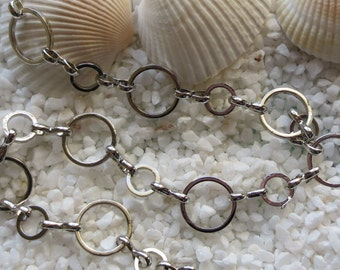 Brass Circle Chain - Platinum Plated - 10mm & 6mm Circles - CHOICE of 3 or 5 feet