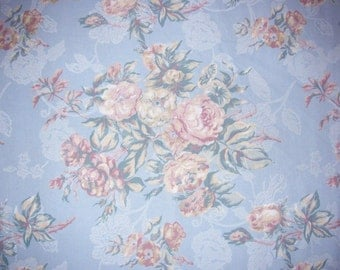 Home Decor - Cotton Fabric - Delicate Bouquet of Roses - Soft Blue - 4 yards