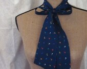 CLEARANCE Vintage Handmade Scarf, Tie, Sash, Navy Blue with Minimalist Pattern, 1970s or 80s
