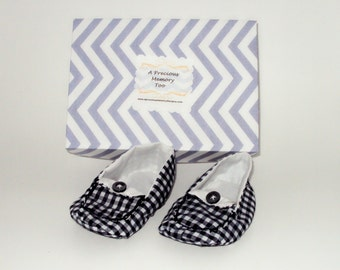 Bubba in Dark Blue Gingham Baby Shoes size 3 6-9 months OOAK