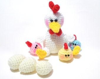 Crochet Pattern, Amigurumi Hen and Chicks Pattern, Amigurumi Animal Pattern, Chicken and Baby Chicks Pattern, Tutorial