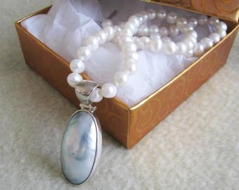 Large Mother of Pearl Pendant on 8MM Cultured Fresh Water Pearl single  KNotted Strand Necklace Sterling Silver Wedding Bridal Gift