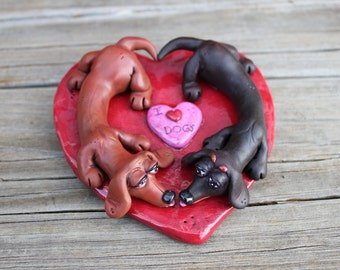 Dachshund Dog Love Polymer Clay Sculpture