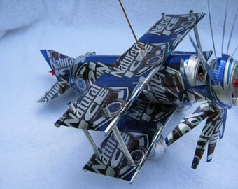 Handmade Natural ICE  can plane airplane cool folk art wind spinner