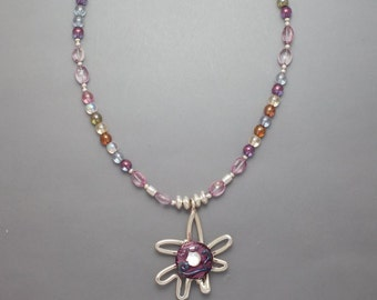 Sterling Starfish with Pink Center Necklace