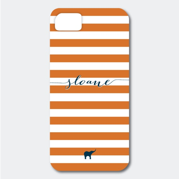 Personalized iPhone, Samsung Galaxy, or Blackberry Case - Sloane Collection - Bold Stripes shown in Orange and Navy