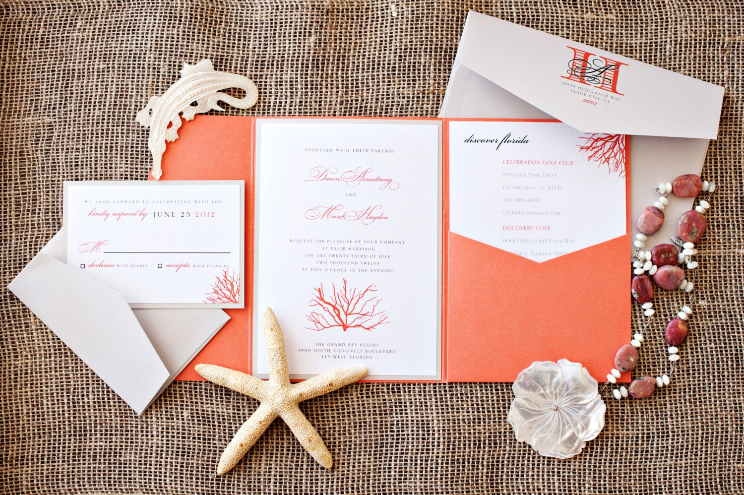 Coral Beach Destination Wedding Invitation Suite Reserved For