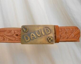 Vintage Brass belt buckle DAVID tooled leather belt and brass buckle DAVID Western belt and buckle Rodeo cowhide belt cowboy rodeo FFA fair