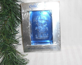 Vintage Christmas Ornament Crystal Etchings Hummel like signed J Cooper 1978 new old stock unbreakable Christmas ornament