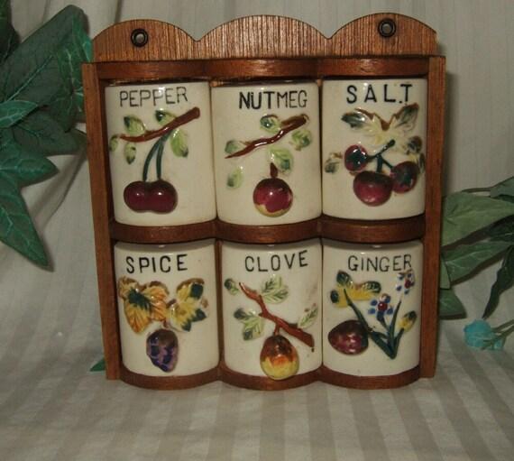 Http Www Etsy Com Listing 122587215 Vintage Fruit Theme Spice Rack Ceramic