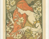 Golden Age, L'Ermitage Magazine Woman with Flowers, La Revue Blanche Magazine Paris, Vintage Art Print, USA, 1971