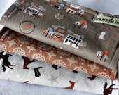 Saddle Up 3 PIECE Gender Neutral Western Cowboy Burp Cloth Set Horses, Horseshoes, Stars, Bandana Brown And Grey
