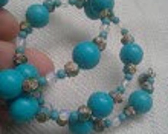 SALE: Turquoise Moonstone Memory Wire Bracelet