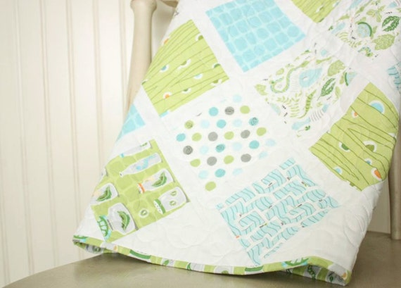 Baby Boy Quilt - in the Backyard Baby Collection - Ready to Ship