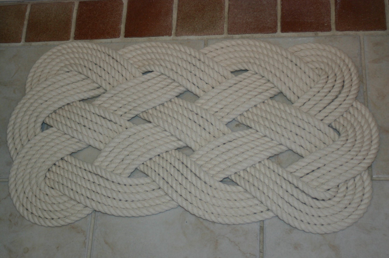 Soft bath mat cotton rope rug off white nautical natural for Rope bath mat