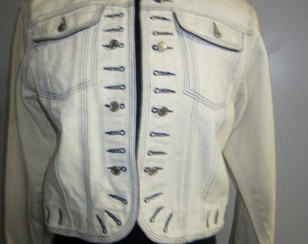 "Vintage ""military style"" white denim jacket"