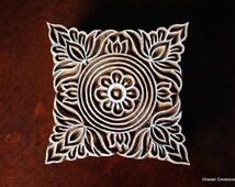 Hand Carved Indian Wood Textile Stamp Block- Square Floral Motif