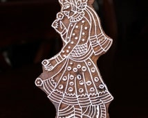 Hand Carved Indian Wood Textile Stamp Block- Indian Groom