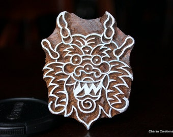Hand Carved Indian Wood Textile Stamp Block- Chinese Dragon Head