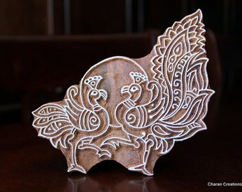 Hand Carved Indian Wood Textile Stamp Block- Peafowl Couple