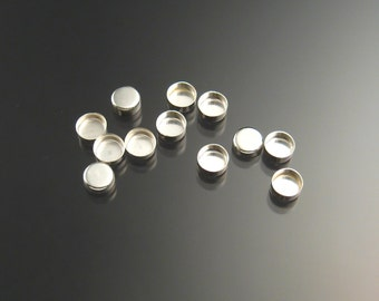6mm round non serrated bezel cups one dozen, sterling silver