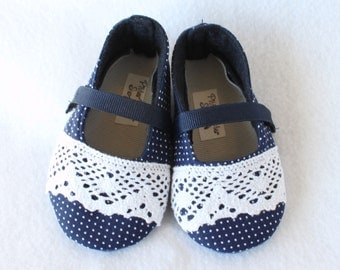 LACY BLUE-Navy, Polka Dots, White, Lace Mary Jane Baby Girl Boutique Bootie