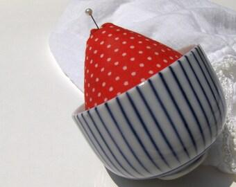 Vintage Teacup Pincushion Strawberry Red Blue & White Tea Cup Pin Cushion - #3077