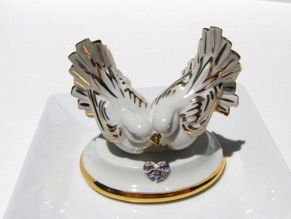 Limoges Doves Wedding Cake Topper Swarovski Love Birds